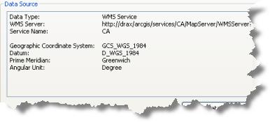 Fuente de datos del servicio de WMS