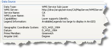 Fuente de datos de la subcapa de servicio de WMS