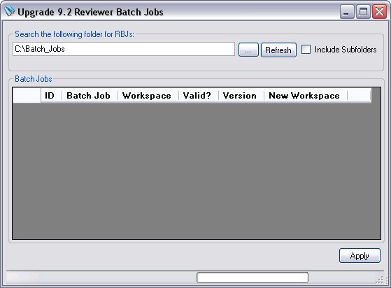 Upgrade 9.2 Reviewer Batch Jobs dialog box