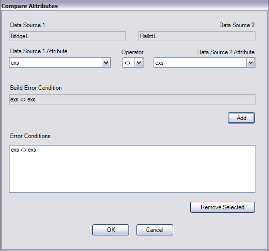Compare Attributes dialog box