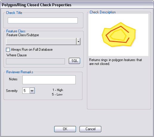 Polygon/Ring Closed Check Properties dialog box