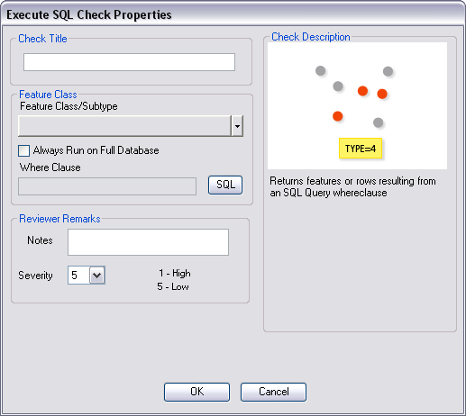 Execute SQL Check Properties dialog box