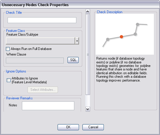 Unnecessary Node Check Properties dialog box