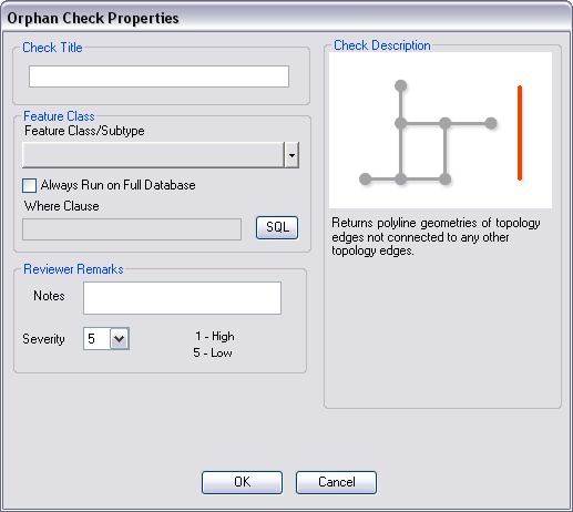 Orphan Check Properties dialog box
